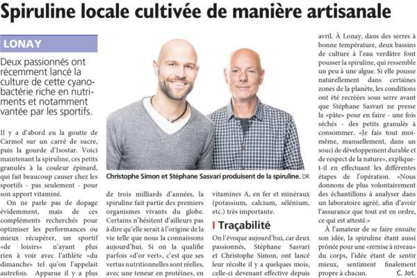 Article Spiruline Swiss Made journal de Morges