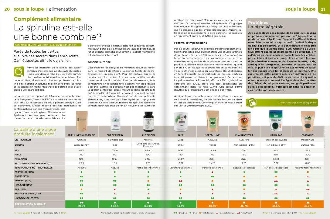 Comparatif FRC - La meilleure spiruline